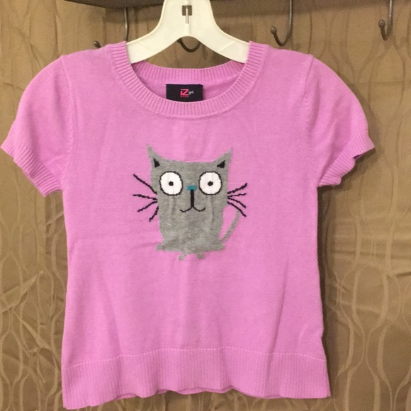 Other - Girls short sleeve kitten sweater